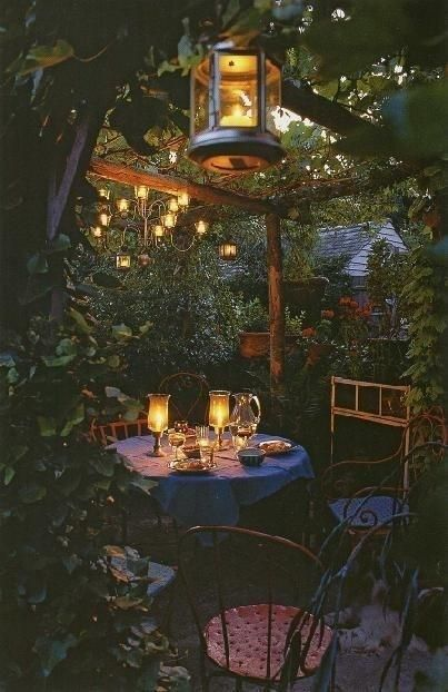 Small and Charming pergola under the tree in backyard